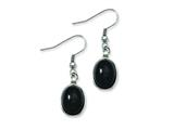 Chisel Stainless Steel Black Agate Earrings style: SRE526
