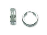 Chisel Stainless Steel Polished and Laser Cut Hinged Hoop Earrings style: SRE551