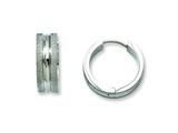 Chisel Stainless Steel Polished and Laser Cut Hinged Hoop Earrings style: SRE552