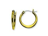 Chisel Stainless Steel Gold Ip Plated Tapered 19mm Hoop Earrings style: SRE571
