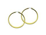 Chisel Stainless Steel Gold Ip Plated Tapered 50mm Hoop Earrings style: SRE574