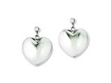 Chisel Stainless Steel Polished Puff Heart Post Dangle Earrings style: SRE596