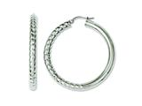 Chisel Stainless Steel Half Textured and Polished Hollow Hoop Earrings style: SRE612