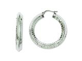 Chisel Stainless Steel Textured Hollow Hoop Earrings style: SRE619