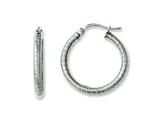 Chisel Stainless Steel Textured 20mm Hollow Hoop Earrings style: SRE626