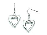 Chisel Stainless Steel Polished Hearts Dangle Earrings style: SRE639