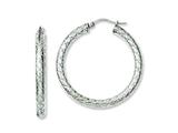 Chisel Stainless Steel Textured and Polished 30mm Hollow Hoop Earrings style: SRE641