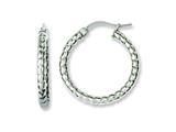Chisel Stainless Steel Textured 20mm Hollow Hoop Earrings style: SRE647