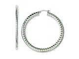 Chisel Stainless Steel Textured Hollow Hoop Earrings style: SRE658