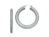Chisel Stainless Steel Textured Hollow Hoop Earrings style: SRE672