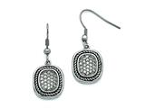 Chisel Stainless Steel Polished And Antiqued CZ Shepherd Hook Earrings style: SRE789