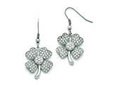 Chisel Stainless Steel Polished 4-leaf Clover W/cz  Shepherd Hook Earrings style: SRE807