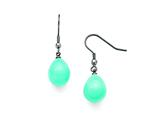 Chisel Stainless Steel Blue Shell Bead Polished Dangle Earrings style: SRE811