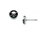 Chisel Stainless Steel Polished Skull Epoxy Post Earrings style: SRE814