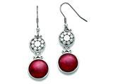 Chisel Stainless Steel Red Glass Polished Shepherd Hook Earrings style: SRE830