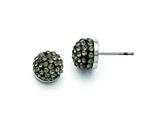 Chisel Stainless Steel Polished Black Enamel W/crystals Post Earrings style: SRE835