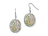 Chisel Stainless Steel Polished Yellow/rose Ip-plated Laser Cut Earrings style: SRE849