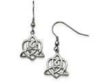 Chisel Stainless Steel Polished Heart Trinity Knot Shepherd Hook Earrings style: SRE889