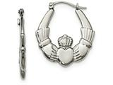 Chisel Stainless Steel Polished Claddagh Hoop Earrings style: SRE890