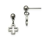 Chisel Stainless Steel Cross Post Dangle Earrings style: SRE909