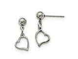 Chisel Stainless Steel 5 Mm Ball Post Heart Dangle Earrings style: SRE910