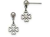 Chisel Stainless Steel Clover Post Dangle Earrings style: SRE911