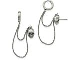Chisel Stainless Steel Polished Double Earrings W/hoop Chain Dangle and Blue CZ Post style: SRE935