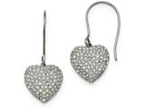 Chisel Stainless Steel Polished W/ Preciosa Crystal Heart Dangle Earrings style: SRE939