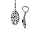 Chisel Stainless Steel Polished Blue Glass And Preciosa Crystal Earrings style: SRE943