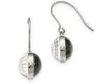 Chisel Stainless Steel Polished Grey and Clear Glass Shepherd Hook Earrings style: SRE944