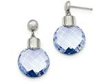 Chisel Stainless Steel Polished Blue Glass Post Dangle Earrings style: SRE945