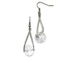 Chisel Stainless Steel Polished Glass Shepherd Hook Earrings style: SRE954