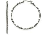 Chisel Stainless Steel Polished And Textured Hoop Earrings style: SRE958