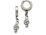 Chisel Stainless Steel Polished Music Note Dangle Hinged Hoop Earrings style: SRE961