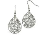 Chisel Stainless Steel Polished Flower Dangle Shepherd Hook Earrings style: SRE964