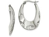 Chisel Stainless Steel Polished And Textured Half Circles Hoop Earrings style: SRE970