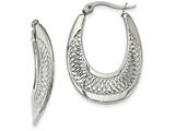 Chisel Stainless Steel Polished And Textured Swirl Hoop Earrings style: SRE971