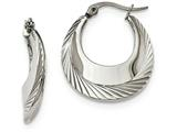 Chisel Stainless Steel Polished And Textured Hoop Earrings style: SRE972