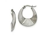 Chisel Stainless Steel Polished And Textured Hoop Earrings style: SRE973