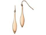 Chisel Stainless Steel Polished Rose Ip Dangle Shepherds Hook Earrings style: SRE977