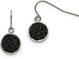 Chisel Stainless Steel Polished Black Crystal Shepherds Hook Earrings style: SRE979