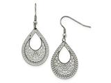 Chisel Stainless Steel Polished Textured Cut-out Design Dangle Earrings style: SRE981