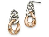 Chisel Stainless Steel Polished W/rose Ip Loop Crystal Dangle Post Earrings style: SRE983