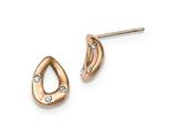 Chisel Stainless Steel Polished Rose Ip Plated Tear Drop Crystal Post Earrings style: SRE985