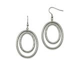 Chisel Stainless Steel Polished And Textured Shepherd Hook Earrings style: SRE988