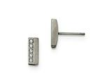 Chisel Stainless Steel Brushed CZ Bar Post Earrings style: SRE991