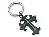 <b>Engravable</b> Chisel Stainless Steel Black-plated Cross Key Chain style: SRK119