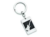 Chisel Stainless Steel Polished Black Carbon Fiber Inlay Guitar Key Ring style: SRK130