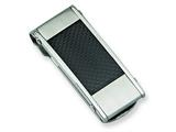 <b>Engravable</b> Chisel Stainless Steel Black Carbon Fiber Money Clip style: SRM101