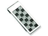 Chisel Stainless Steel Polished Black And Grey Carbon Fiber Money Clip style: SRM134